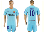 FC Barcelona 2017/18 Away Light Blue Soccer Jersey with #10 Messi Printing