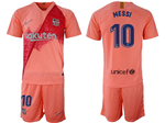 FC Barcelona 2018/19 Third Pink Soccer Jersey with #10 Messi Printing