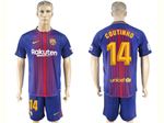 FC Barcelona 2017/18 Home Red/Blue Pinstripe Soccer Jersey with #14 Coutinho Printing
