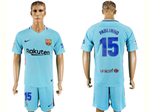 FC Barcelona 2017/18 Away Light Blue Soccer Jersey with #15 Paulinho Printing