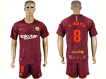 FC Barcelona 2017/18 Third Dark Maroon Soccer Jersey with #8 A.Iniesta Printing
