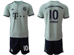 FC Bayern Munich 2018/19 Away Grey-Green Soccer Jersey with #10 Robben Printing