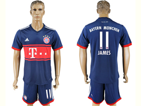 FC Bayern Munich 2017/18 Away Navy Soccer Jersey with #11 James Printing