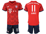 FC Bayern Munich 2018/19 Home Red Soccer Jersey with #11 James Printing
