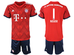 FC Bayern Munich 2018/19 Home Red Soccer Jersey with #1 Neuer Printing