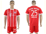 FC Bayern Munich 2017/18 Home Red Soccer Jersey with #25 Müller Printing