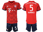 FC Bayern Munich 2018/19 Home Red Soccer Jersey with #5 Hummels Printing