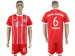 FC Bayern Munich 2017/18 Home Red Soccer Jersey with #6 Thiago Printing
