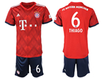 FC Bayern Munich 2018/19 Home Red Soccer Jersey with #6 Thiago Printing