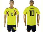 Colombia 2018 World Cup Home Yellow Soccer Jersey with #10 James Printing