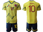 Colombia 2019/20 Home Yellow Soccer Jersey with #10 James Printing
