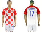Croatia 2018 World Cup Home Red/White Soccer with #17 Mandžukić Printing