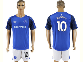 Everton F.C. 2017/18 Home Blue Soccer Jersey with #10 Rooney Printing