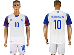 Iceland 2018 World Cup Away White Soccer with #10 Sigurdsson Printing