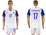 Iceland 2018 World Cup Away White Soccer with #17 Gunnarsson Printing