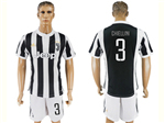 Juventus F.C. 2017/18 Home Black/White Soccer Jersey with #3 Chiellini Printing