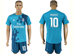 Real Madrid C.F. 2017/18 Thrid Away Blue Soccer Jersey with #10 Modrić Printing