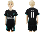 Real Madrid C.F. 2017/18 Away Youth Black Soccer Jersey with #11 Bale Printing