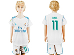 Real Madrid C.F. 2017/18 Home Youth White Soccer Jersey with #11 Bale Printing