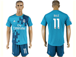Real Madrid C.F. 2017/18 Thrid Away Blue Soccer Jersey with #11 Bale Printing
