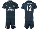 Real Madrid C.F. 2018/19 Away Black Soccer Jersey with #12 Marcelo Printing
