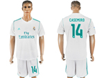 Real Madrid C.F. 2017/18 Home White Soccer Jersey with #14 Casemiro Printing