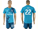 Real Madrid C.F. 2017/18 Thrid Away Blue Soccer Jersey with #22 Isco Printing