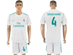 Real Madrid C.F. 2017/18 Home White Soccer Jersey with #4 Sergio Ramos Printing