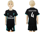 Real Madrid C.F. 2017/18 Away Youth Black Soccer Jersey with #4 Sergio Ramos Printing