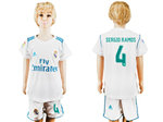 Real Madrid C.F. 2017/18 Home Youth White Soccer Jersey with #4 Sergio Ramos Printing