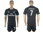 Real Madrid C.F. 2017/18 Away Black Soccer Jersey with #7 Ronaldo Printing