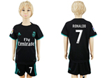 Real Madrid C.F. 2017/18 Away Youth Black Soccer Jersey with #7 Ronaldo Printing