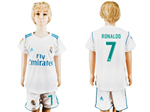 Real Madrid C.F. 2017/18 Home Youth White Soccer Jersey with #7 Ronaldo Printing
