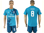 Real Madrid C.F. 2017/18 Thrid Away Blue Soccer Jersey with #8 Kroos Printing