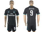 Real Madrid C.F. 2017/18 Away Black Soccer Jersey with #9 Benzema Printing