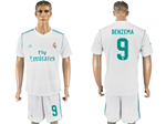 Real Madrid C.F. 2017/18 Home White Soccer Jersey with #9 Benzema Printing