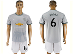 Manchester United F.C. 2017/18 3rd Gray Soccer Jersey with #6 Pogba Printing