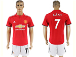 Manchester United F.C. 2017/18 Home Red Soccer Jersey with #7 Alexis Printing