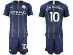 Manchester City F.C. 2018/19 Away Navy Soccer Jersey with #10 Kun Agüero Printing