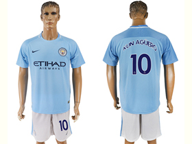 Manchester City F.C. 2017/18 Home Light Blue Soccer Jersey with #10 Kun Agüero Printing