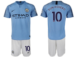 Manchester City F.C. 2018/19 Home Light Blue Soccer Jersey with #10 Kun Agüero Printing