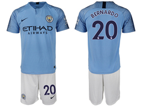 Manchester City F.C. 2018/19 Home Light Blue Soccer Jersey with #20 Bernardo Printing