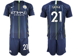 Manchester City F.C. 2018/19 Away Navy Soccer Jersey with #21 Silva Printing