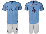 Manchester City F.C. 2018/19 Home Light Blue Soccer Jersey with #4 Kompany Printing