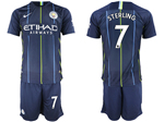 Manchester City F.C. 2018/19 Away Navy Soccer Jersey with #7 Sterling Printing