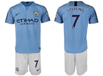 Manchester City F.C. 2018/19 Home Light Blue Soccer Jersey with #7 Sterling Printing