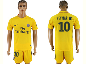 Paris Saint-Germain F.C. 2017/18 Away Gold Soccer Jersey with #10 Neymar Jr Printing