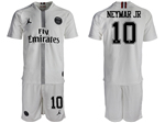 Paris Saint-Germain F.C. 2018/19 Champions League Away White Soccer Jersey with #10 Neymar Jr Printing