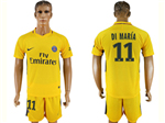 Paris Saint-Germain F.C. 2017/18 Away Gold Soccer Jersey with #11 Di María Printing