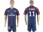 Paris Saint-Germain F.C. 2017/18 Home Navy Soccer Jersey with #11 Di María Printing